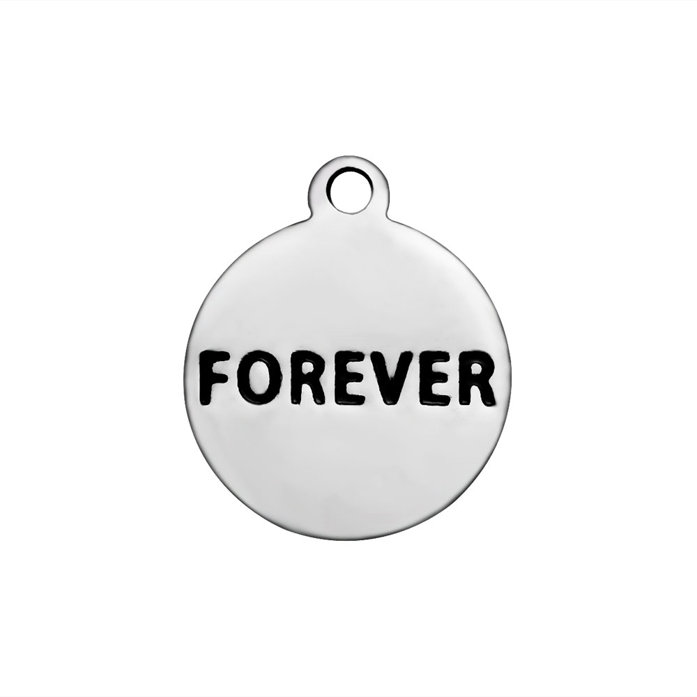 12*14 Stainless Steel Charm - Forever Round Tag