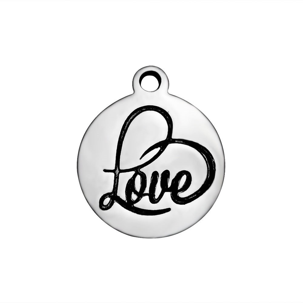 12*14 Stainless Steel Charm - Love Script Heart Tag