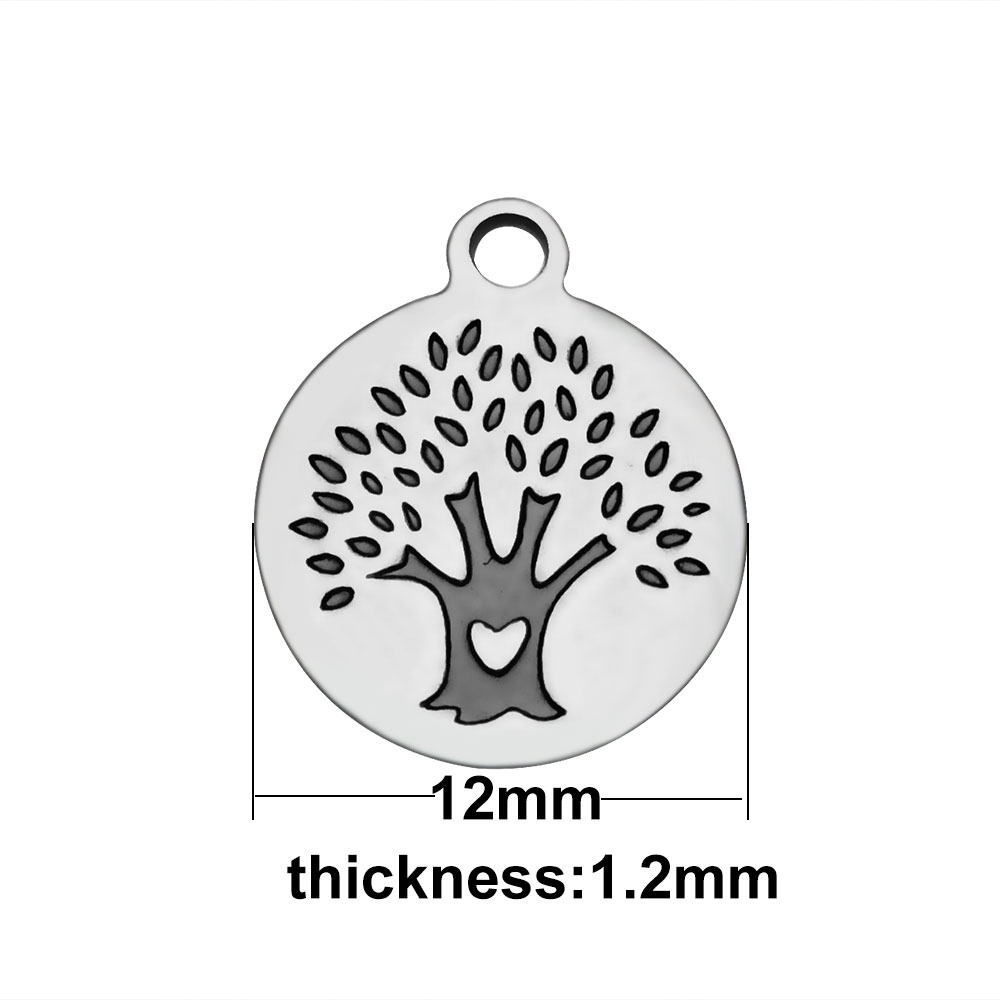 12mm Small Stainless Round Charm - Tree of Life Heart