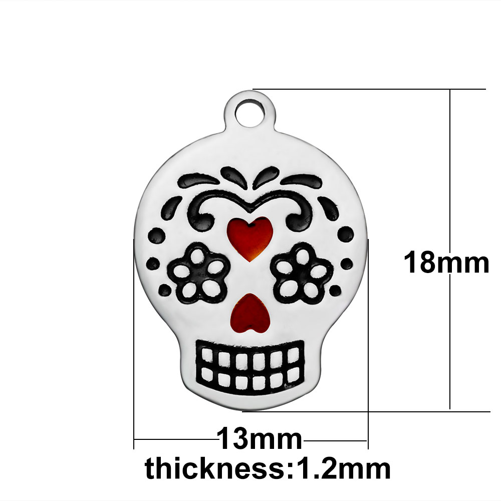 13*18mm Small Stainless Steel Charm - Color Skull
