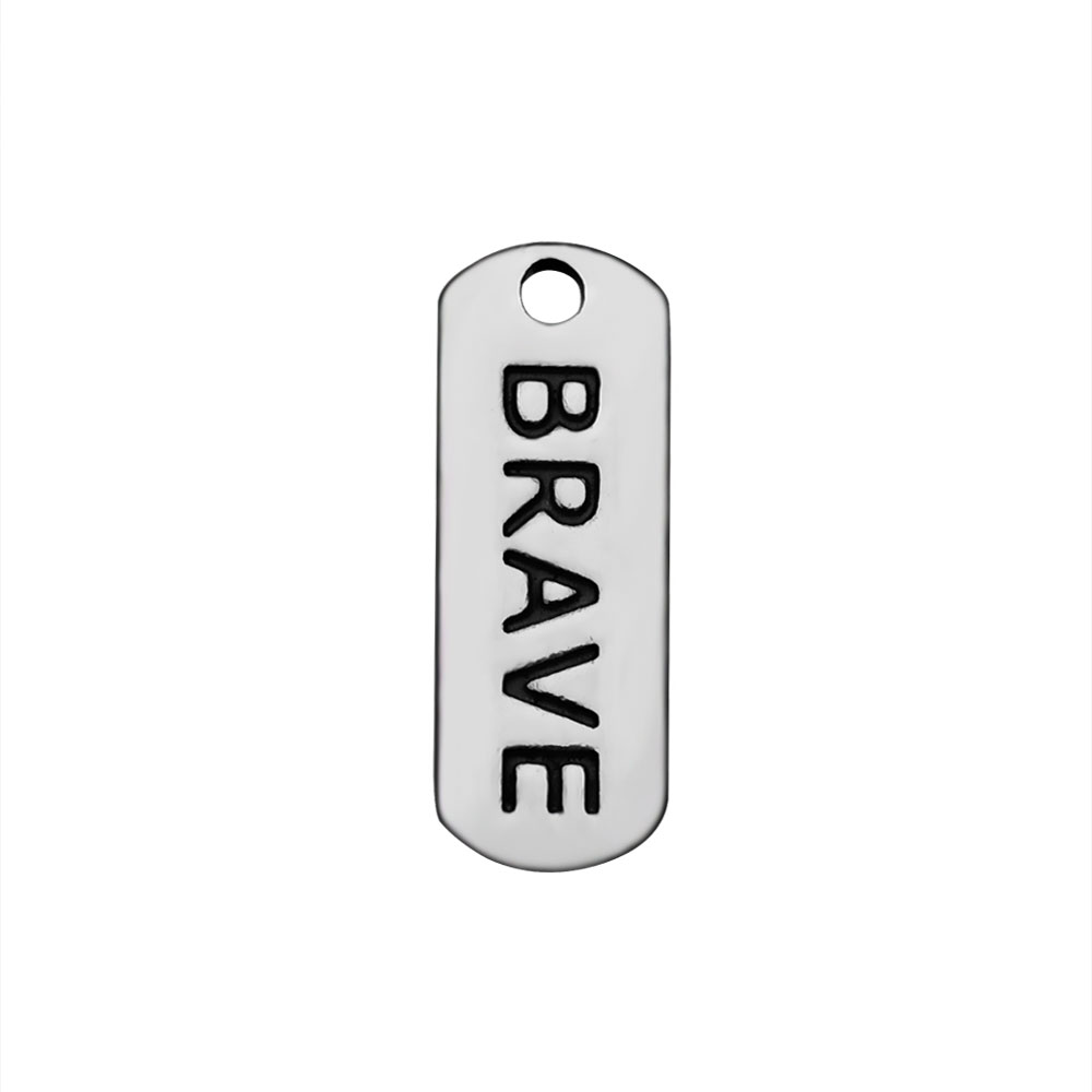 6*16mm Stainless Steel Charm - Brave Tag