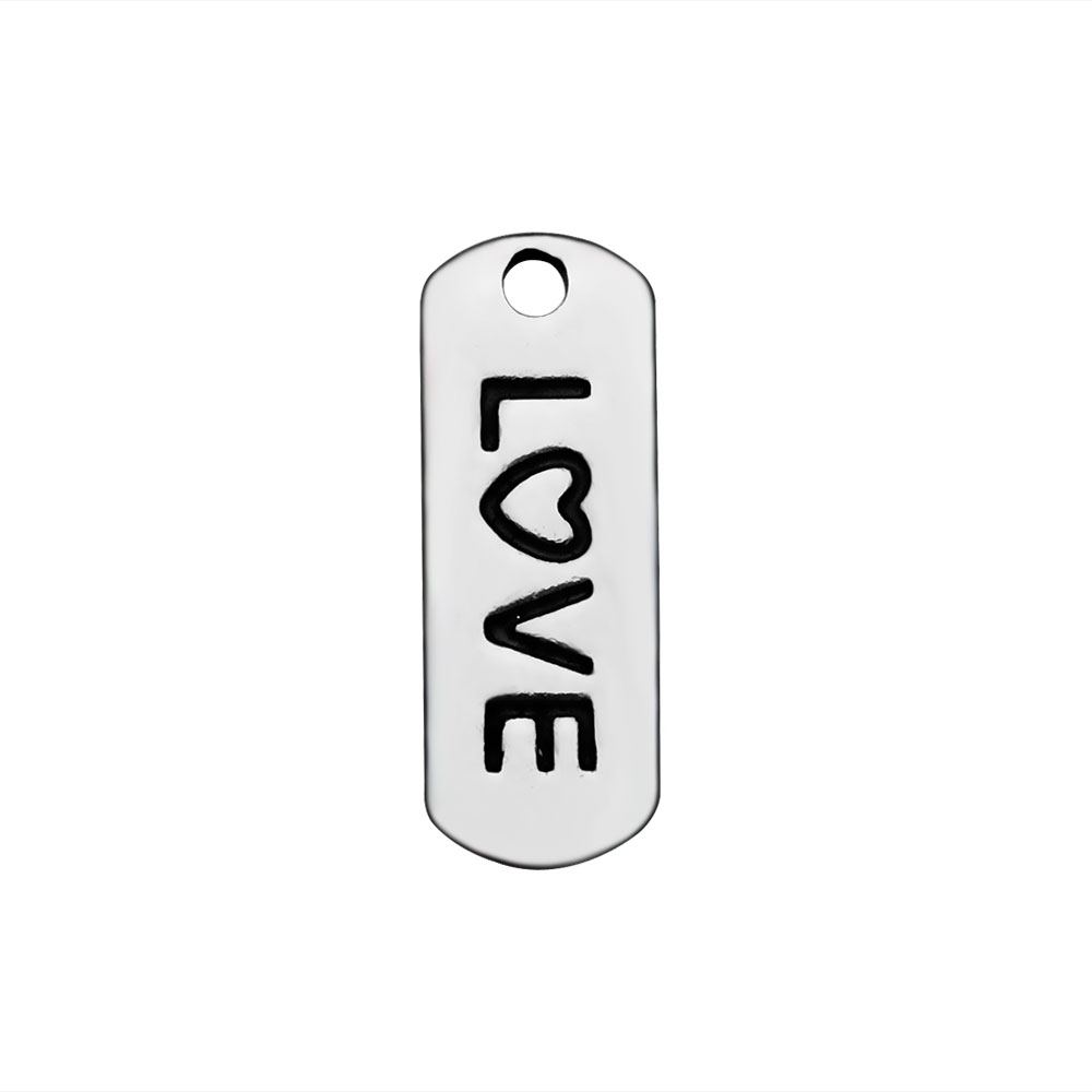6*16mm Stainless Steel Charm - Love Tag