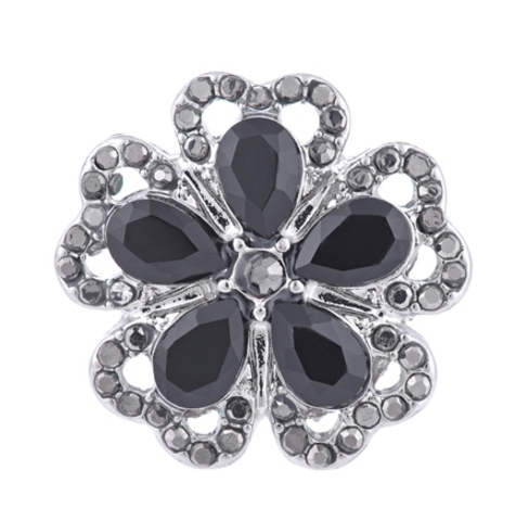 Snap Jewelry Large CZ -Five Petals Black Flower