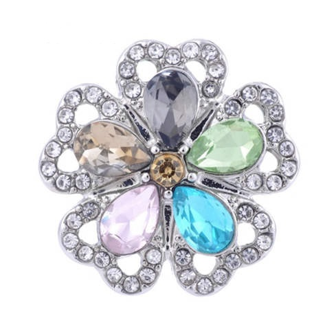 Snap Jewelry Large CZ -Five Petals Multicolor Flower