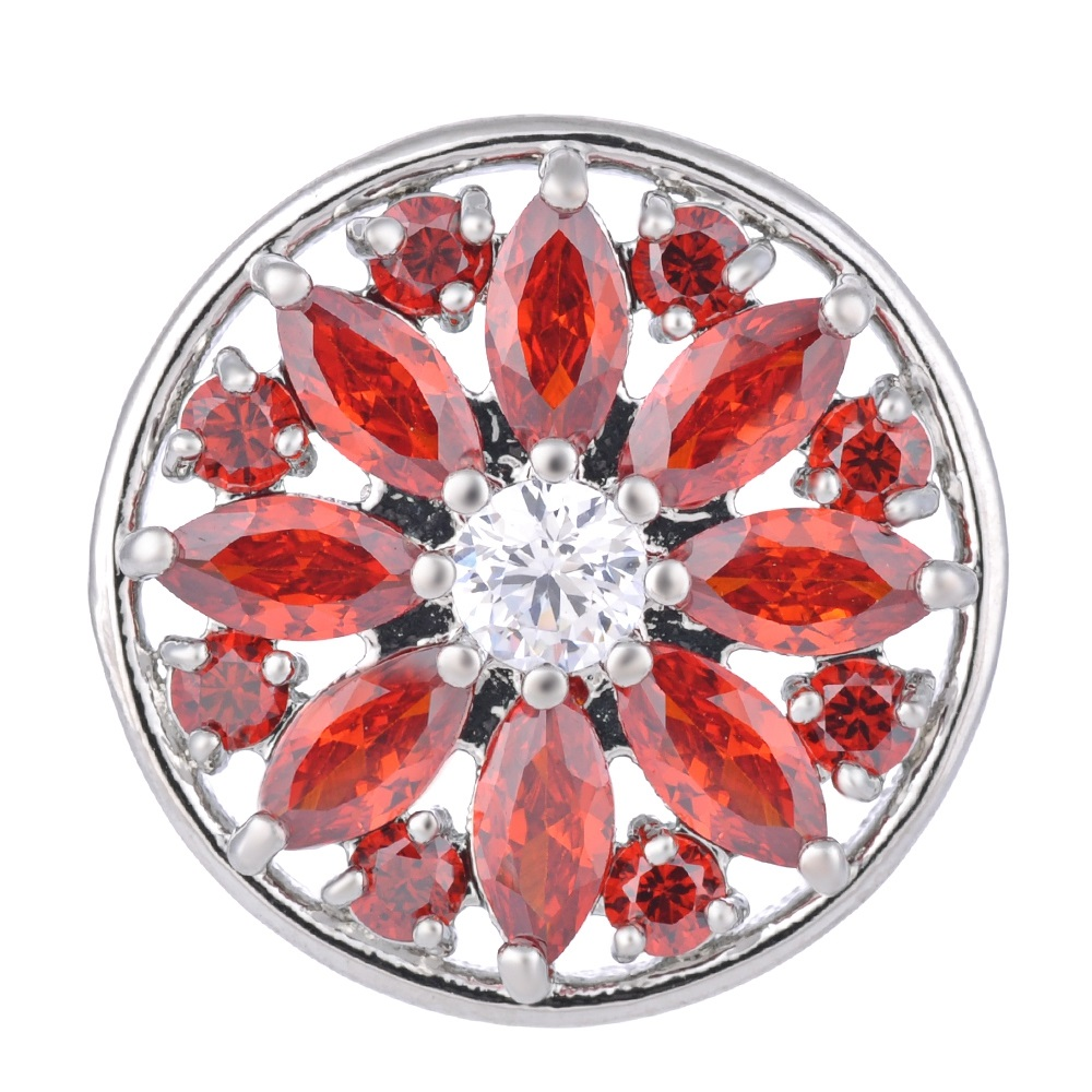Snap Jewelry Large CZ - Round Red Marquise Petals