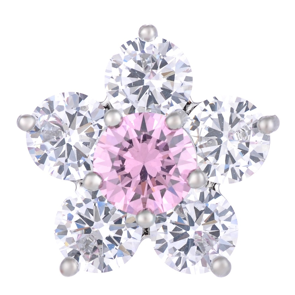 Snap Jewelry Large CZ - 5 Petal Flower Pink & Clear