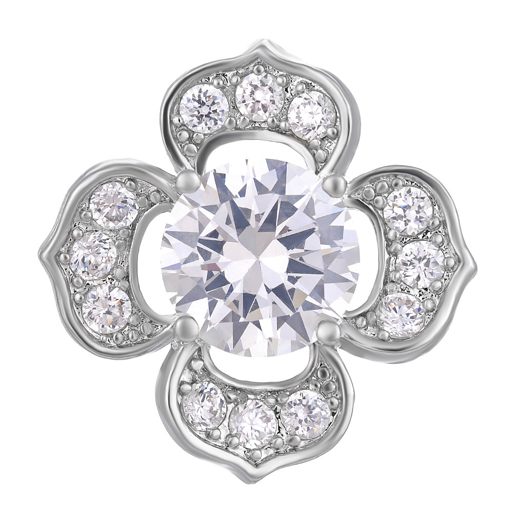 Snap Jewelry Large CZ - 4 Petal Flower Clear