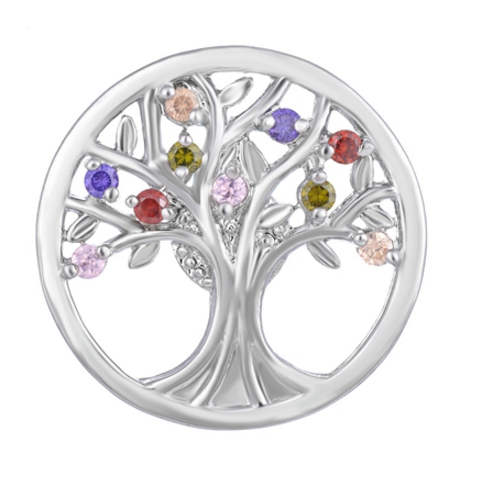 Snap Jewelry Large CZ - Tree of Life Multicolor