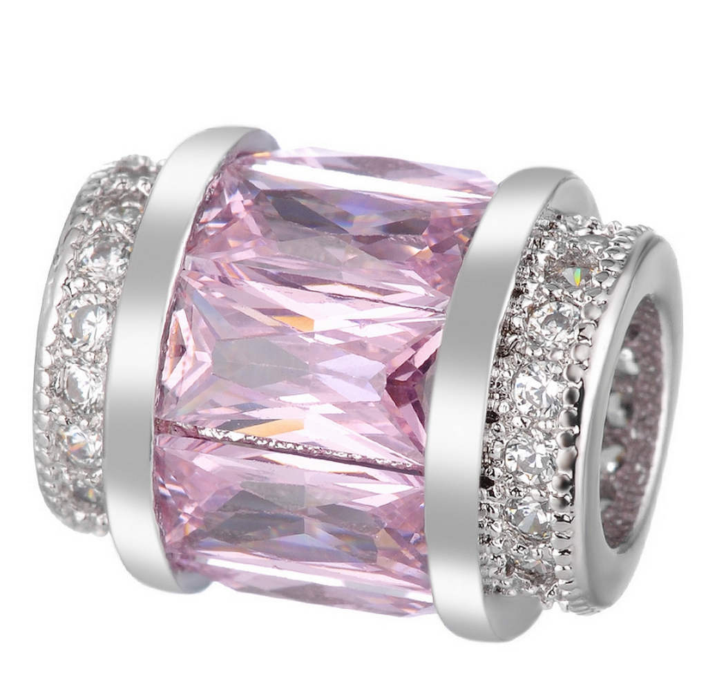 EndLess Charm CZ Barrel - Baguette Pink & Clear