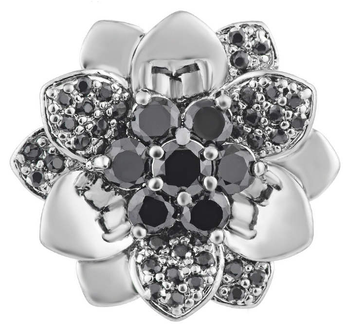 Snap Jewelry Large CZ - 3D Flower Black