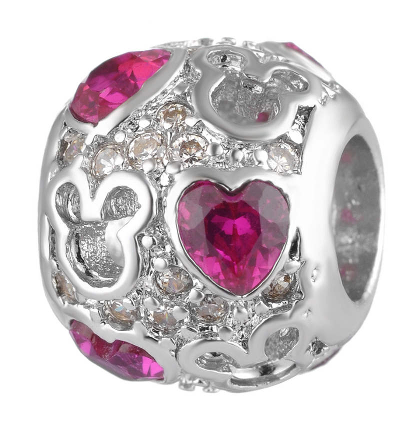 Endless Charm CZ Round - Mouse Love Pink Heart