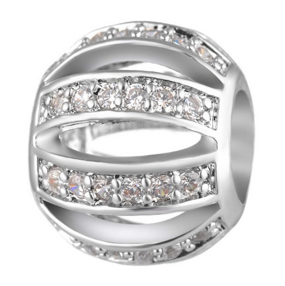 Endless Charm CZ Round - Hollow Lines