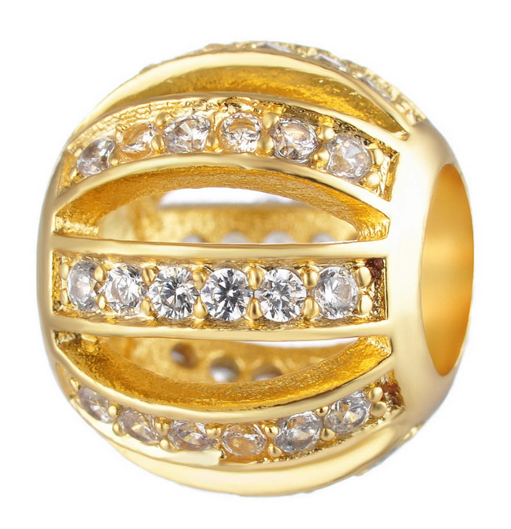 Endless Charm CZ Round - Hollow Lines Gold