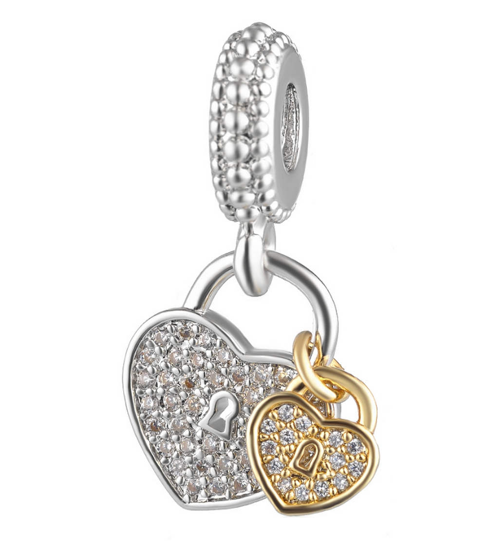 EndLess Charm Drop - CZ Heart & Key Silver & Gold