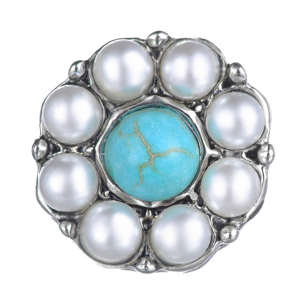 Mini 12mm Snap Jewelry Stone Turquoise & Pearl Halo