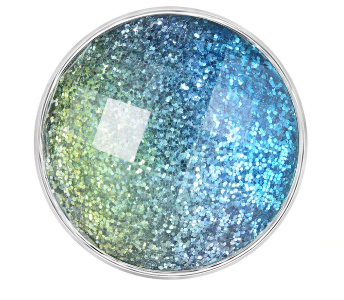 Snap Jewelry 18-20mm Glitter Shades of Blue & Green
