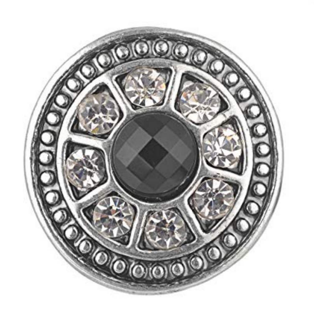 Snap Jewelry Rhinestone - Black Center & Clear