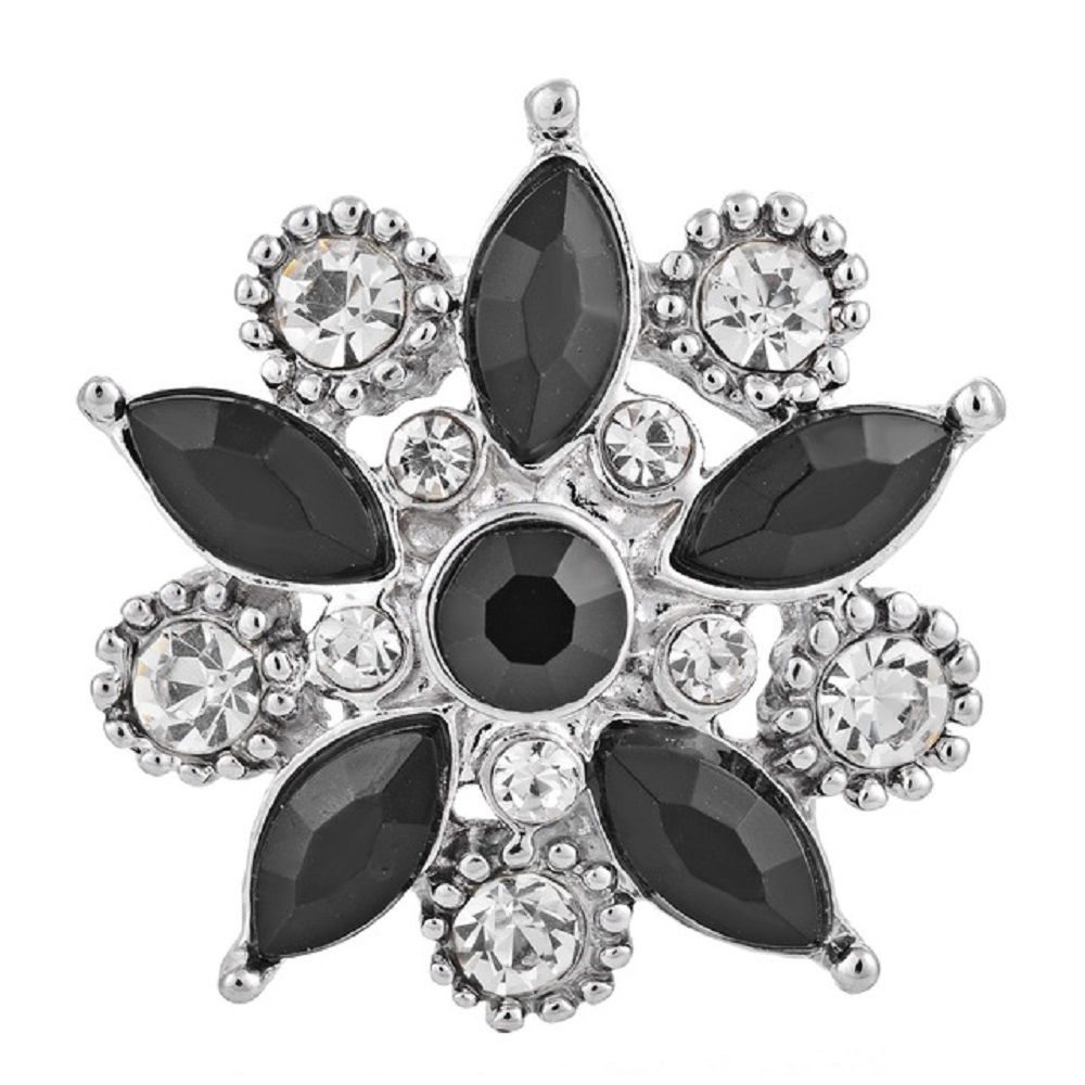 Snap Jewelry Rhinestone Black & Clear Flower