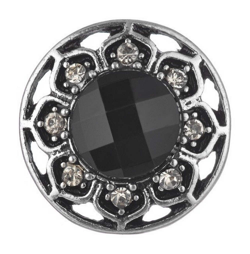 Snap Jewelry 18-20mm Rhinestone Faceted Flower Black