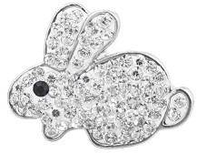 Snap Jewelry Rhinestone - Easter White Bunny Rabbit
