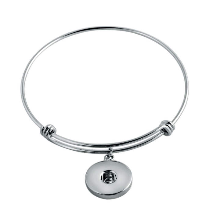 Snap Stainless Bracelet Alex & Ani Inspired Silver - Medium