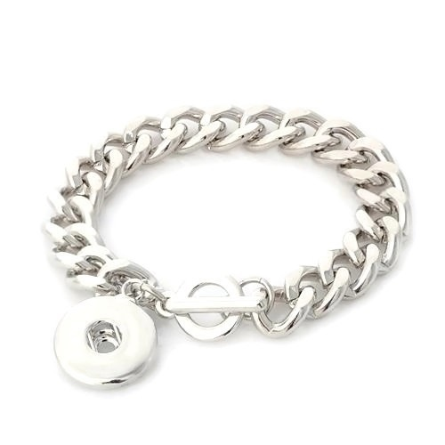 Snap Jewelry Bracelet Heavy Toggle Link Chain - Single 19CM