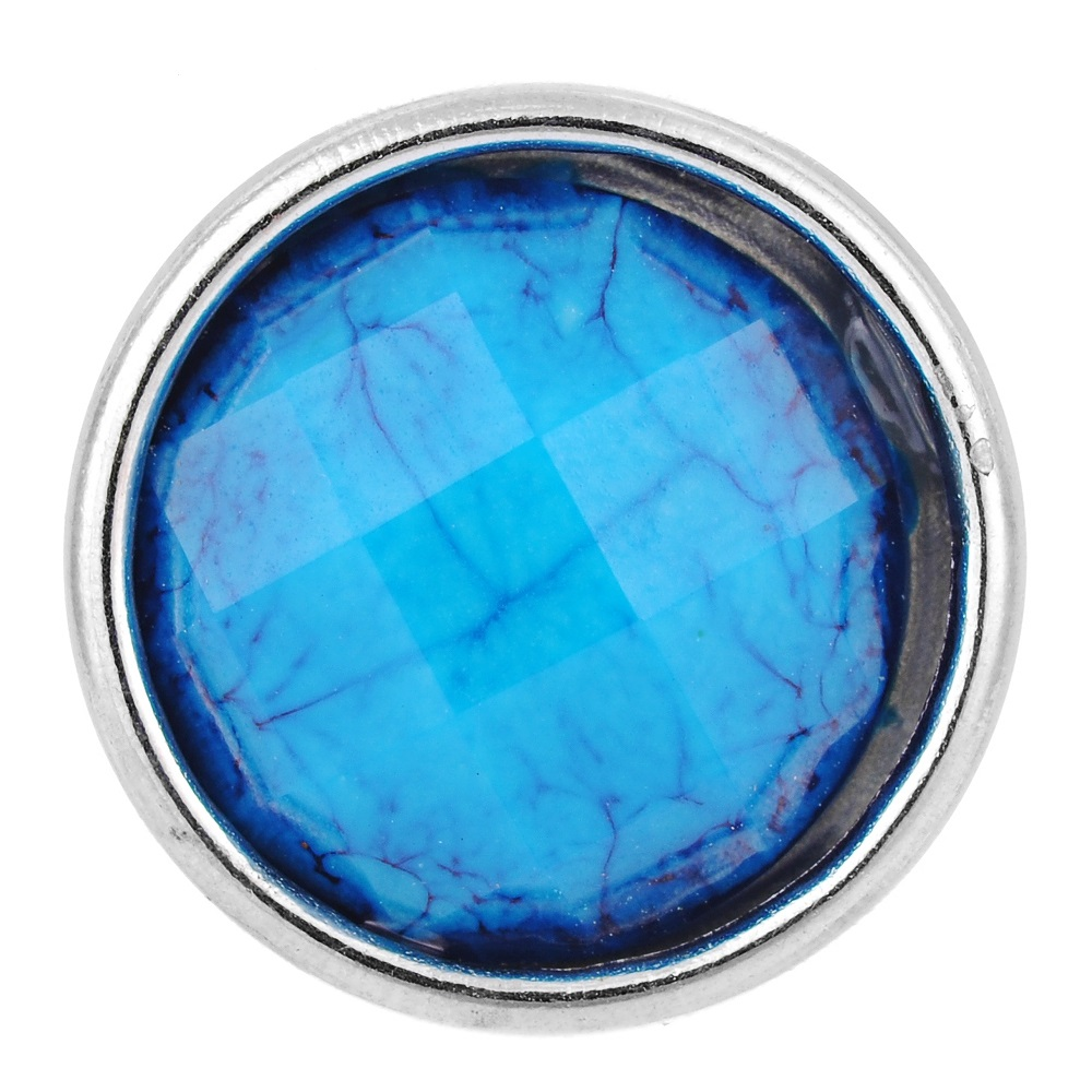 Mini 12mm Snap Stone Faceted Blue