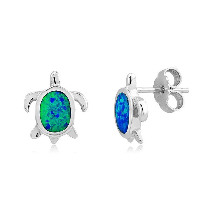 925 - Sterling - Turtle Opal Stud Earrings