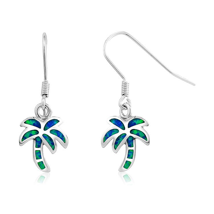 925 - Sterling - Palm Tree Opal Hook Earrings
