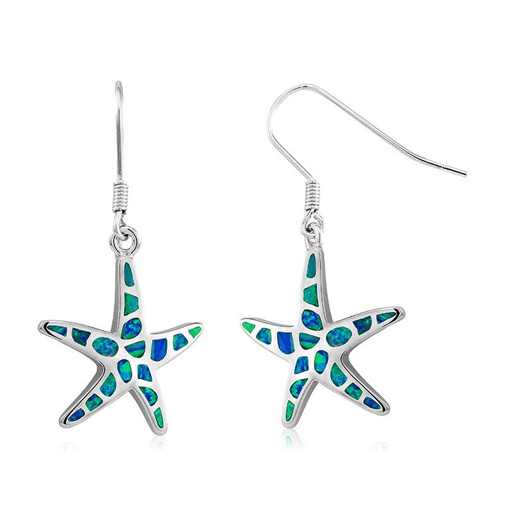 925 - Sterling - Star Fishhook Opal Earrings