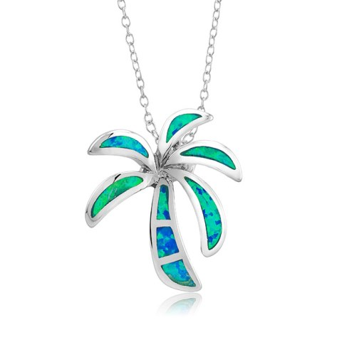 925 - Sterling - Palm Tree Opal Medium Blue