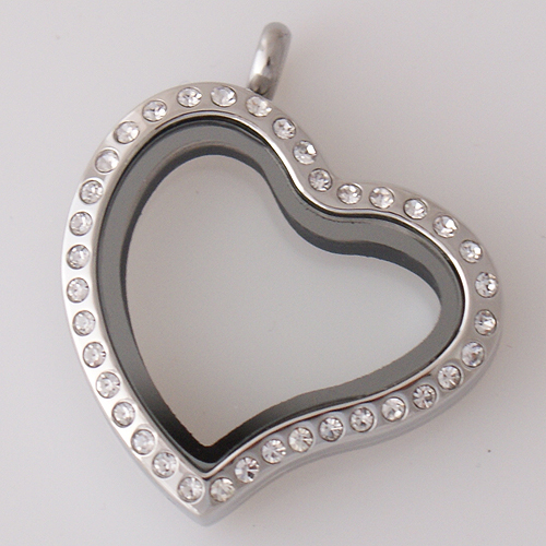 Large Stainless Steel Heart Locket - 30MM - Tilted Silver & CZ
