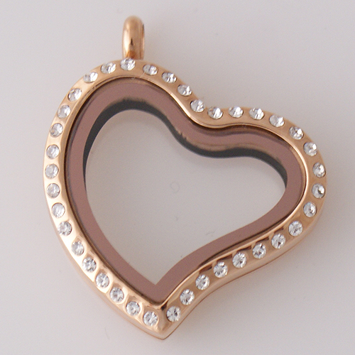 Large Stainless Steel Heart Locket - 30MM - Tilted Rose Gold CZ