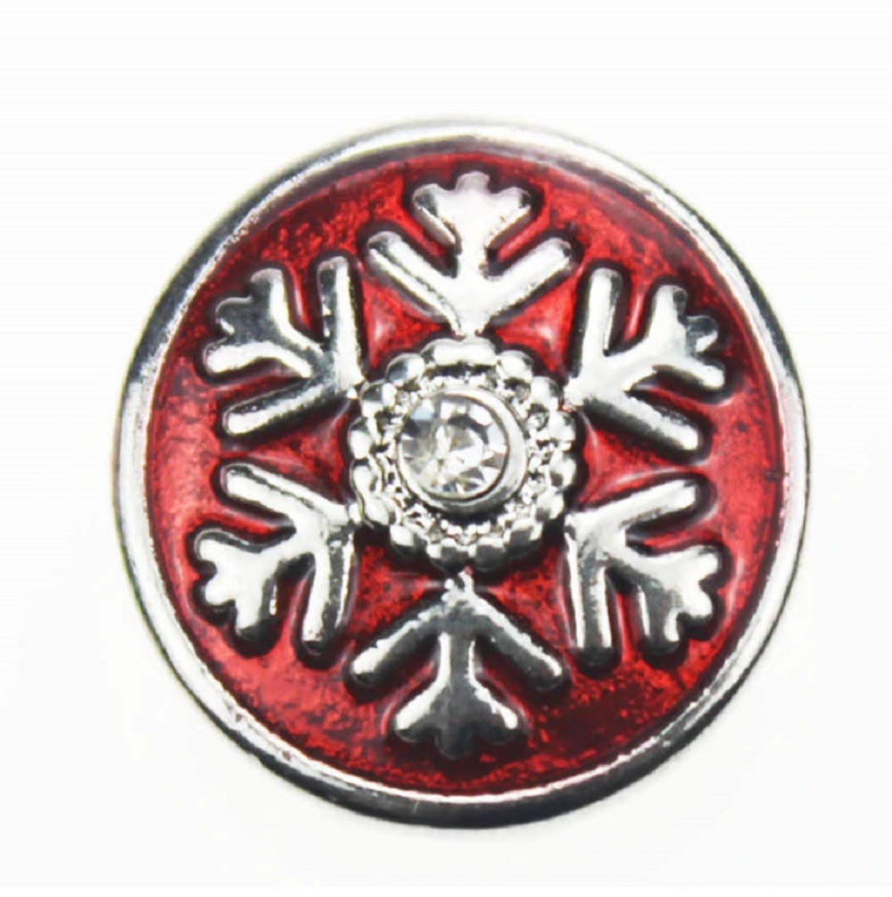 Snap Jewelry Enamel - Christmas Winter Snowflake in Red