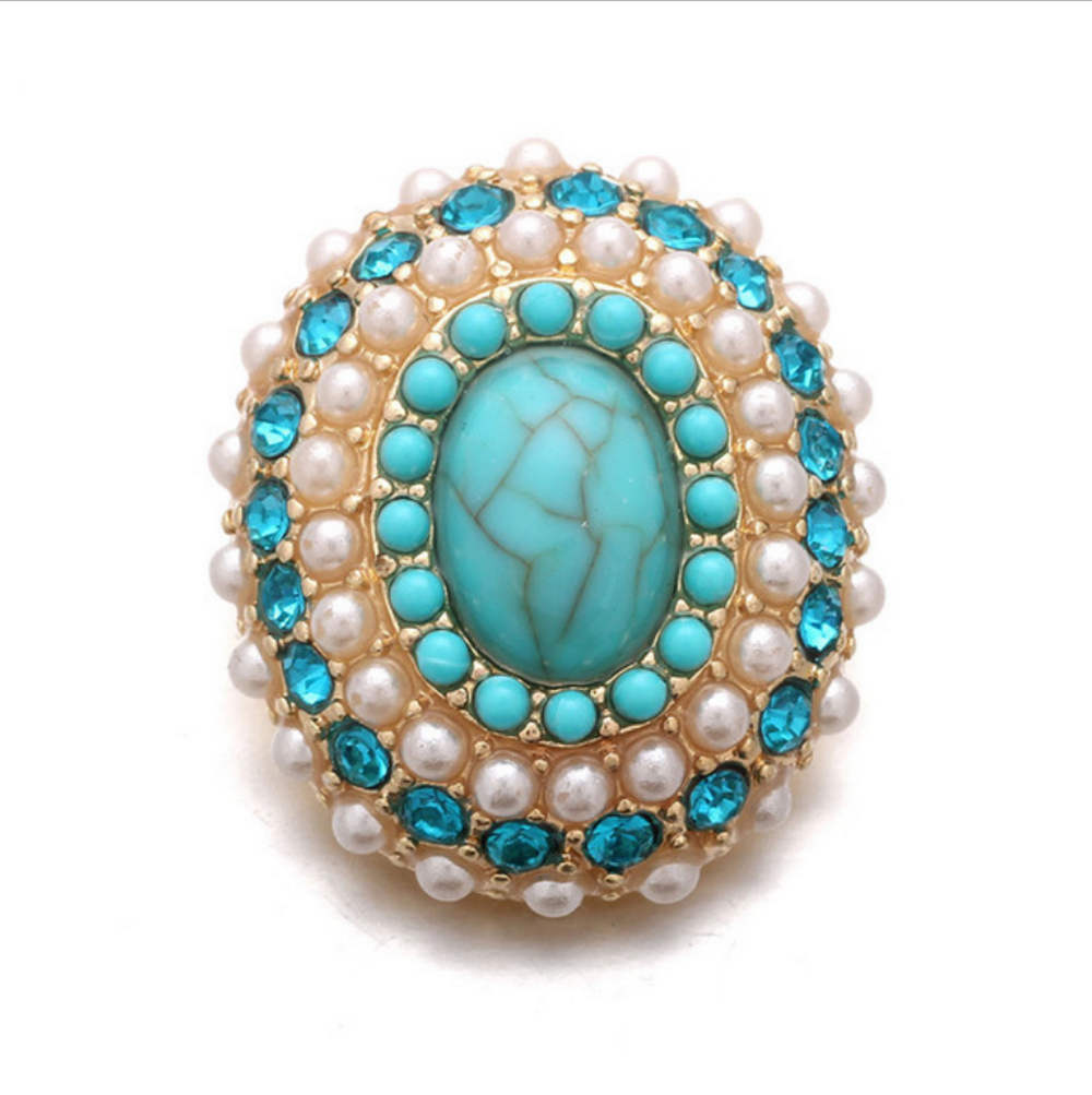 Snap Jewelry Gemstone - Turquoise Pearl & Topaz Oval