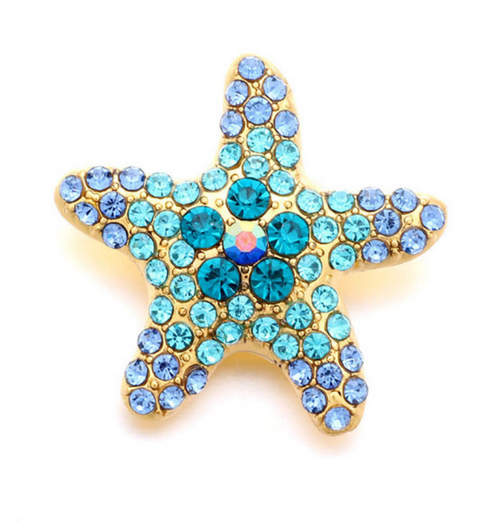 Snap Jewelry Rhinestone Starfish - Shades of Blue Gold Tone Base