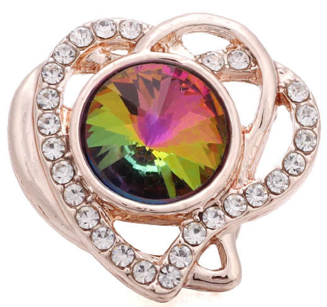 Snap Jewelry Rhinestone - Rose Gold-Tone Mystic Topaz Heart