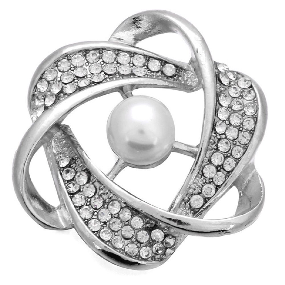 Snap Jewelry Pearl & Rhinestone Orbit