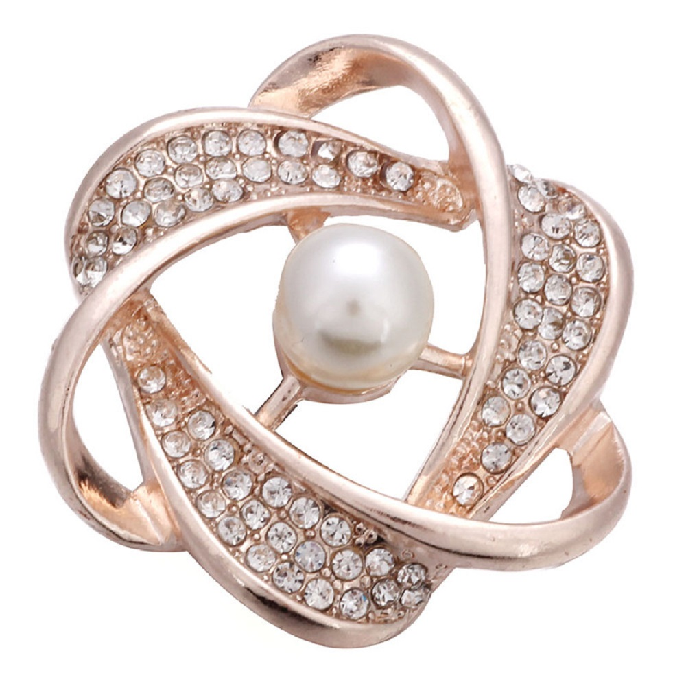 Snap Jewelry Pearl & Rhinestone Orbit Gold Plated