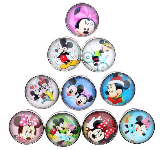 Snap Glass Jewelry - Cartoon Mouse Mixed Pieces