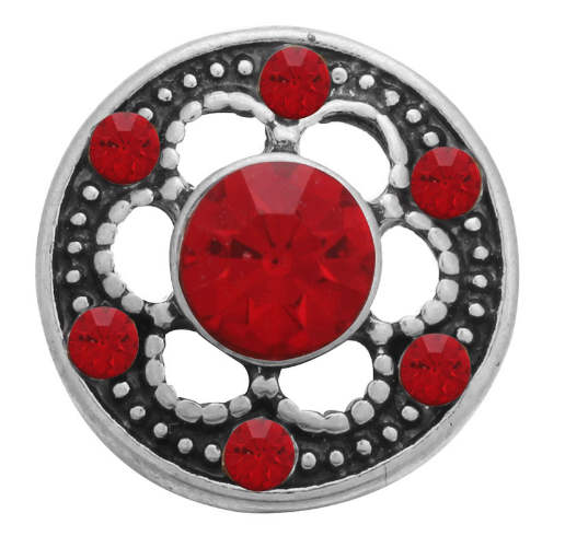 Mini Snap 12mm - Rhinestone Designer Red