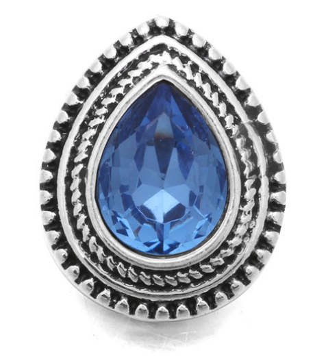 Mini 12mm Snap Jewelry Rhinestone Teardrop - Blue