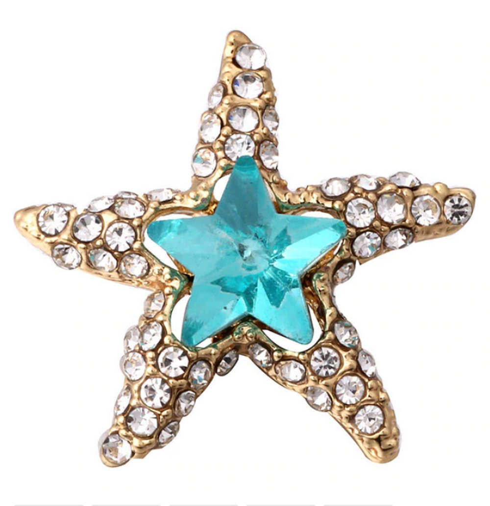 Snap Jewelry Rhinestone - Gold-tone Starfish Clear & Blue