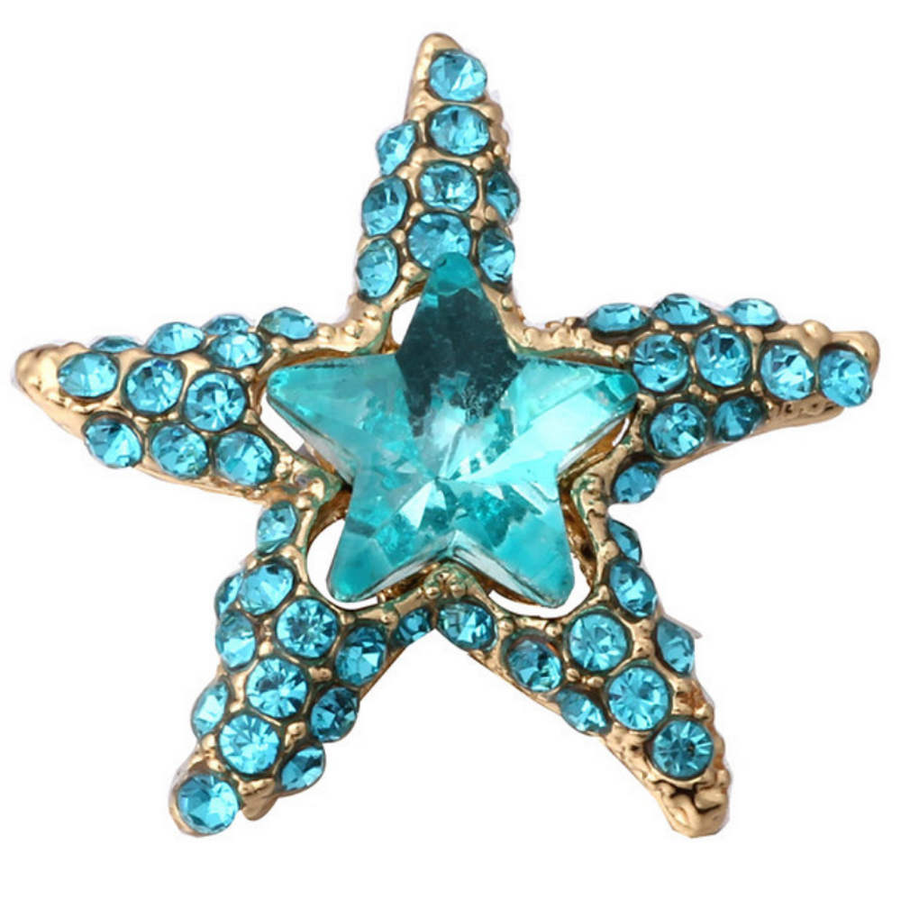 Snap Jewelry Rhinestone - Gold-tone Starfish Teal & Blue