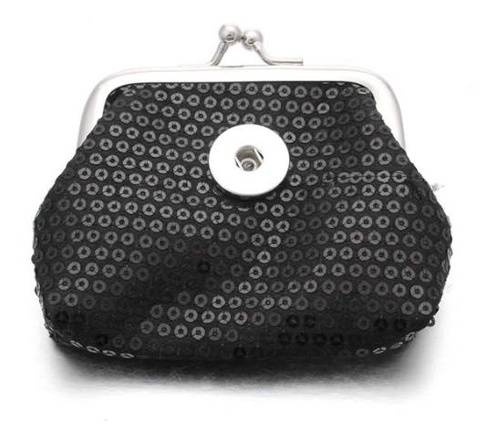 Snap Jewelry Coin Purse - Black Sequins