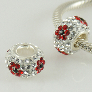 Charm 925 - 5 Row Crystals - Flower - Clear w/ Red & Black