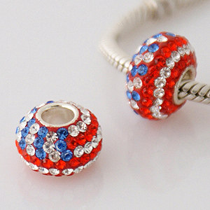 Charm 925 - 5 Row Crystals - USA Flag - Red, White & Blue