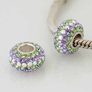 Charm 925 - 5 Row Crystals - Peridot Lime, Lavender & AB Clear