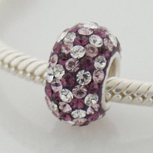 Charm 925 - 5 Row Crystals - Purple & Clear