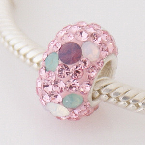 Charm 925 - 5 Row Crystals - Opalescent - Pink, Blue & Clear
